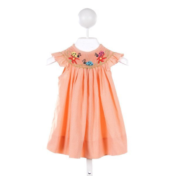 TRICIA ORANGE MICRO GINGHAM DRESS WITH LADYBUG SMOCKING