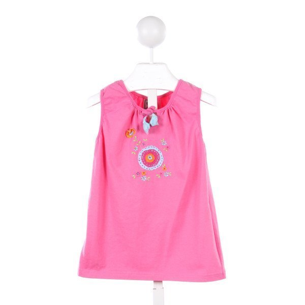 COTTON KIDS PINK KNIT TOP WITH FLOWER APPLIQUE