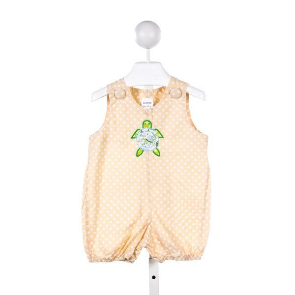LOLLIPOP LAUNDRY PEACH AND WHITE POLKA DOT BUBBLE WITH TURTLE APPLIQUE