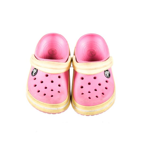 PINK CROCS WITH YELLOW STRAPS *SIZE 8-9, GUC - SCUFFING AND DISCOLORATION