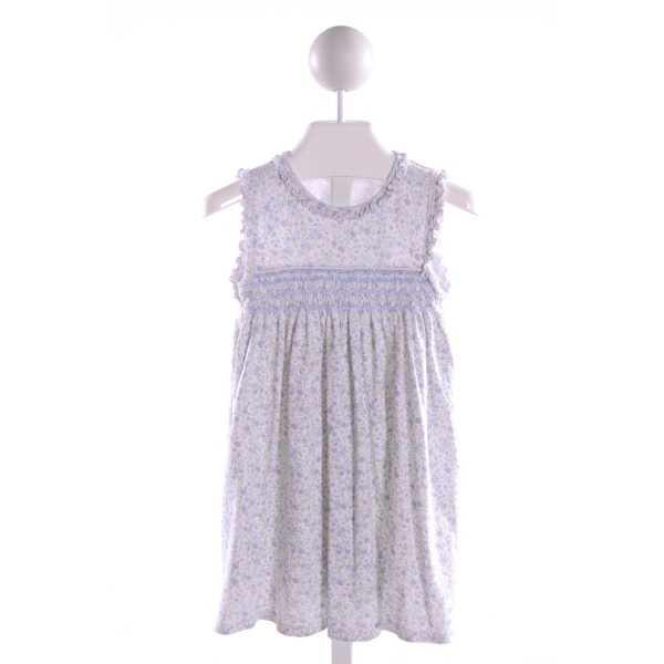 KISSY KISSY  MULTI-COLOR  FLORAL SMOCKED KNIT DRESS WITH RUFFLE