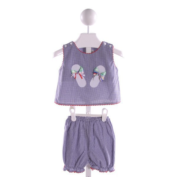 ROYAL KIDZ  BLUE  GINGHAM EMBROIDERED 2-PIECE OUTFIT WITH RIC RAC