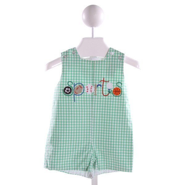BAILEY BOYS  GREEN  GINGHAM EMBROIDERED JOHN JOHN/ SHORTALL