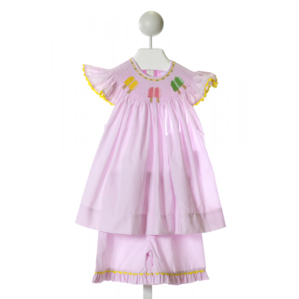 REMEMBER NGUYEN  PURPLE  MICROCHECK SMOCKED 2-PIECE OUTFIT WITH RIC RAC