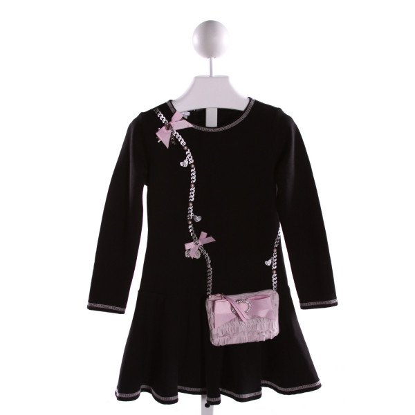 KATE MACK  BLACK  PRINT APPLIQUED DRESS WITH RUFFLE
