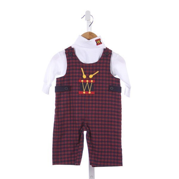 FLORENCE EISEMAN NAVY AND RED FLANNEL PLAID ROMPER WITH DRUM APPLIQUE AND MATCHING KNIT TURTLENECK
