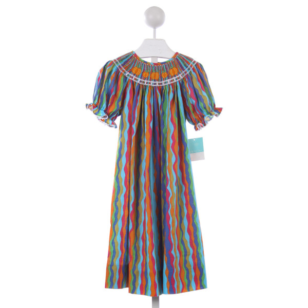 ANAVINI MULTI STRIPED SMOCKED PUMPKINS DRESS