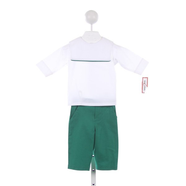 JACK & TEDDY WHITE SQUARE NECK SHIRT WITH GREEN PIPING AND GREEN PANTS