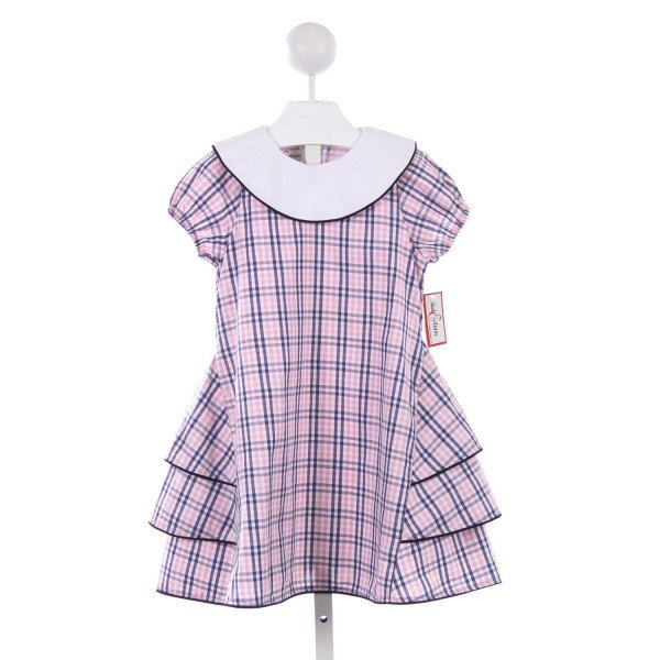 JACK & TEDDY PINK AND NAVY PLAID RUFFLE DRESS