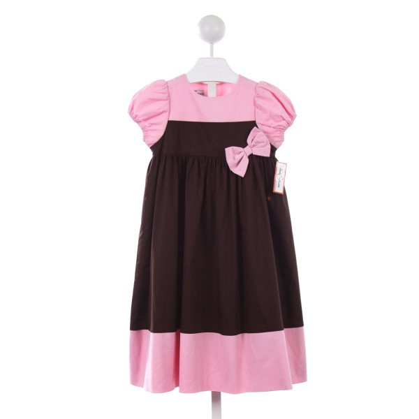 JACK & TEDDY PINK CORD AND BROWN DRESS WITH BOW