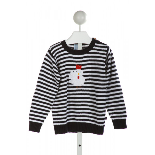 BELLA BLISS  NAVY  STRIPED EMBROIDERED SWEATER