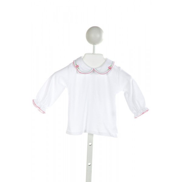 FLORENCE EISEMAN  WHITE   EMBROIDERED KNIT LS SHIRT WITH PICOT STITCHING