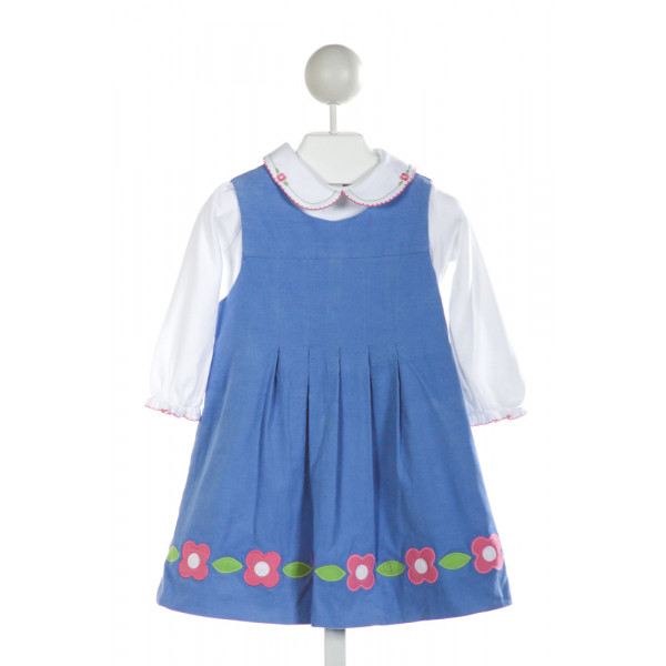 FLORENCE EISEMAN  BLUE CORDUROY  EMBROIDERED DRESS WITH PICOT STITCHING