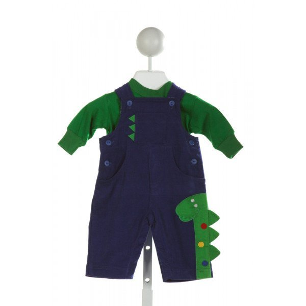 FLORENCE EISEMAN  ROYAL BLUE CORDUROY  EMBROIDERED LONGALL/ROMPER