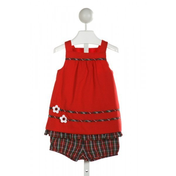 FLORENCE EISEMAN  RED  PLAID APPLIQUED 2-PIECE OUTFIT WITH RUFFLE