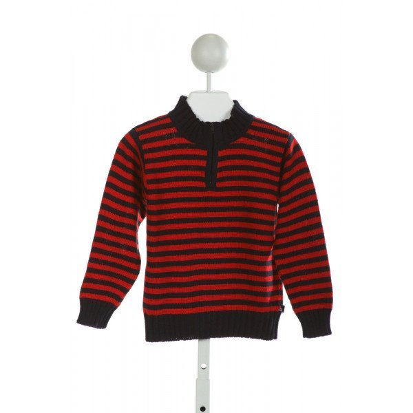 BELLA BLISS  RED  STRIPED  QUARTER ZIP PULLOVER