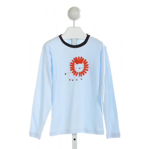 BELLA BLISS  LT BLUE   EMBROIDERED KNIT LS SHIRT