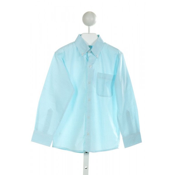 BELLA BLISS  AQUA  GINGHAM  CLOTH LS SHIRT