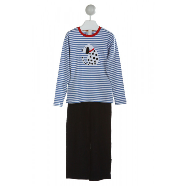 BELLA BLISS  LT BLUE CORDUROY STRIPED EMBROIDERED 2-PIECE OUTFIT