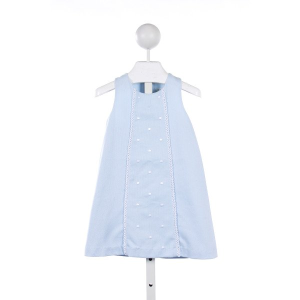 PEACHES N CREAM BLUE BIRDS-EYE PIQUE DRESS WITH WHITE EMBROIDERED DOTS AND LACE TRIM