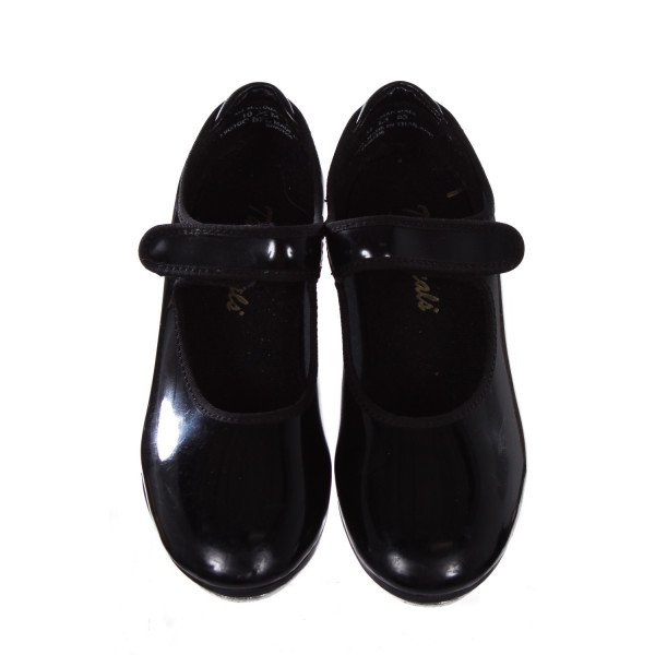 THEATRICALS BLACK PATENT TAP SHOES TODDLER SIZE 10.5M *LIGHT WEAR