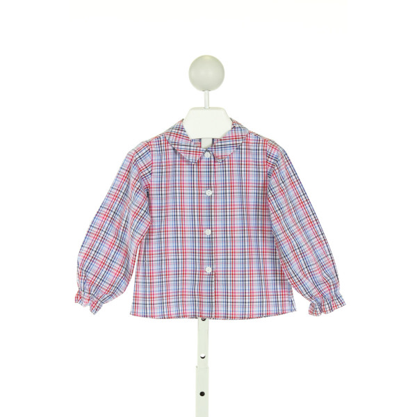 BELLA BLISS  PINK  PLAID  CLOTH LS SHIRT WITH RUFFLE