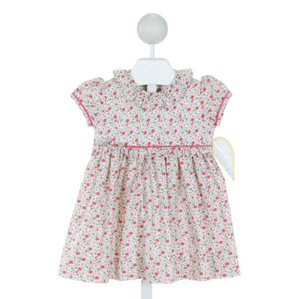 LITTLE ENGLISH  PINK  FLORAL  DRESS WITH RUFFLE