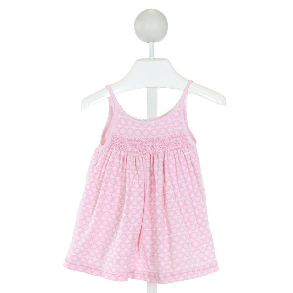 MAGNOLIA BABY  PINK  PRINT SMOCKED KNIT DRESS
