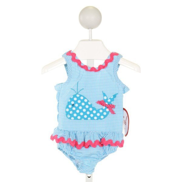 FUNTASIA TOO  LT BLUE SEERSUCKER GINGHAM EMBROIDERED 1-PIECE SWIMSUIT WITH RIC RAC