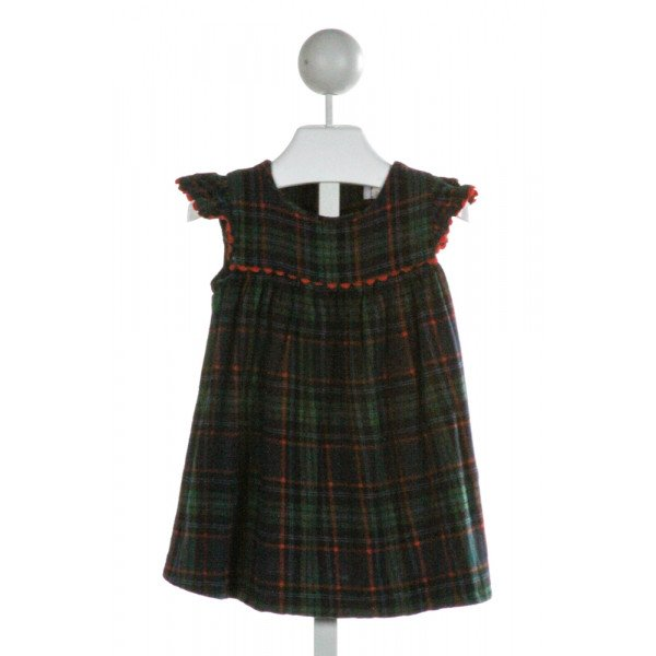 FUNTASIA TOO  NAVY  PLAID  DRESS WITH RIC RAC