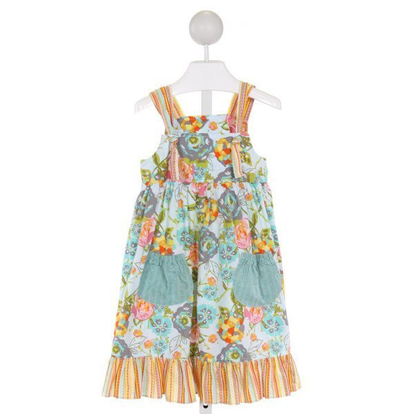 RED BEANS  LT BLUE  FLORAL  DRESS WITH RUFFLE