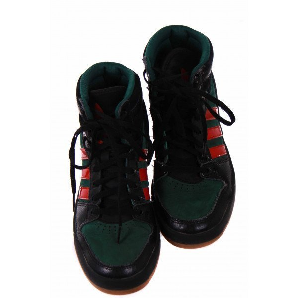 ADIDAS GREEN AND RED HI-TOPS *SIZE 4.5 *EUC