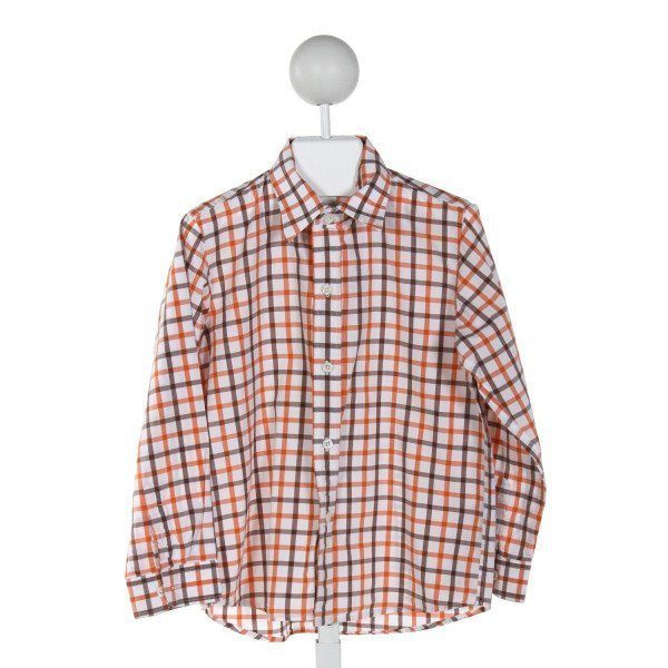 KULE BY NIKKI KULE  ORANGE  GINGHAM  CLOTH LS SHIRT