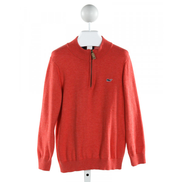 VINEYARD VINES  RED    QUARTER ZIP PULLOVER