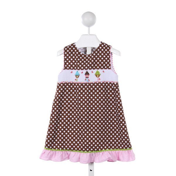 CUKEES BROWN POLKA DOT DRESS WITH SMOCKED BIRD HOUSES AND PINK CORD RUFFLE HEM