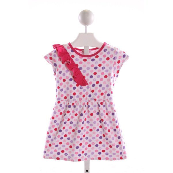 AMERICAN GIRL  MULTI-COLOR  POLKA DOT PRINTED DESIGN KNIT DRESS WITH RUFFLE