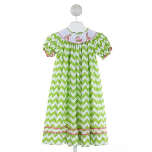 CUKEES  LT GREEN  CHEVRON SMOCKED DRESS WITH RIC RAC