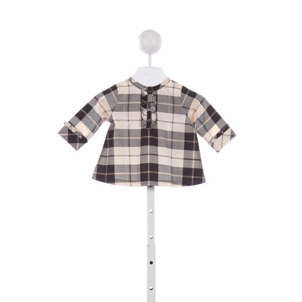 KATE SPADE BEIGE AND BLACK PLAID RUFFLE TUNIC