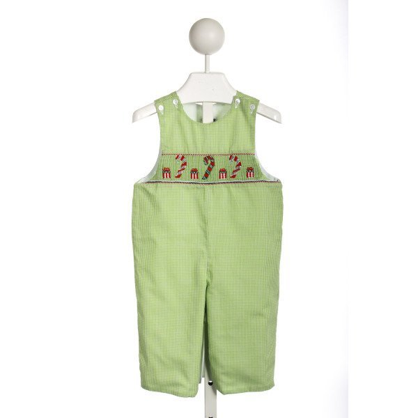 CUKEES GREEN GINGHAM ROMPER WITH CHRISTMAS SMOCKING