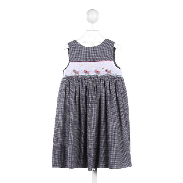 WISH UPON A STAR BLACK GINGHAM DRESS WITH DOG SMOCKING *SMALL STAIN ON FRONT