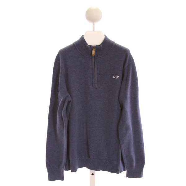 VINEYARD VINES  BLUE    QUARTER ZIP PULLOVER