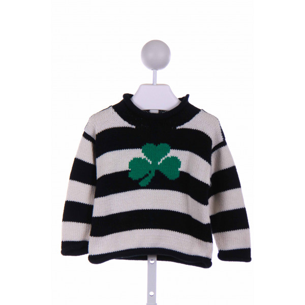 CLAVER  NAVY  STRIPED EMBROIDERED SWEATER