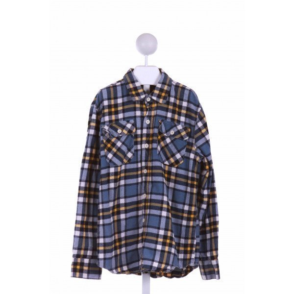 MINI BODEN  BLUE FLANNEL PLAID  CLOTH LS SHIRT