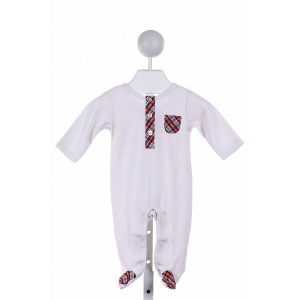 KITESTRINGS  WHITE TERRY CLOTH PLAID  LAYETTE