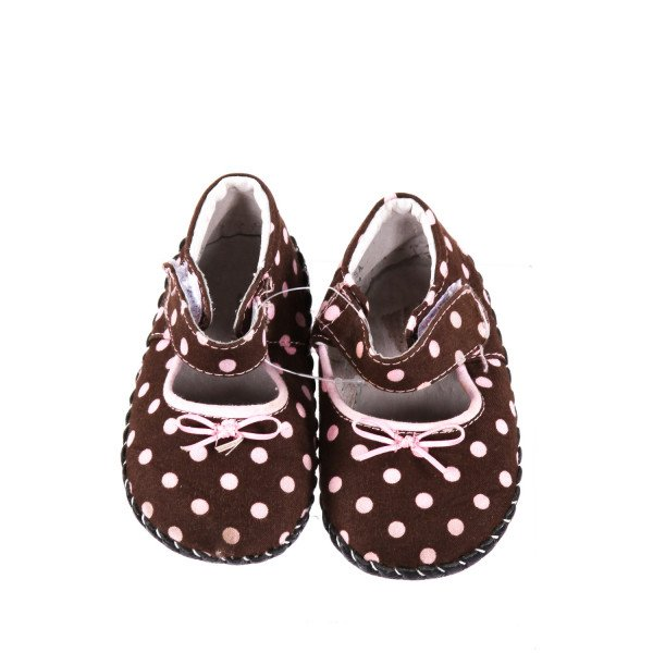 BROWN WITH PINK POLK -A- DOTS PEDIPED SHOE *SIZE 12- 18 MONTHS , SIZE 5 *NWOT