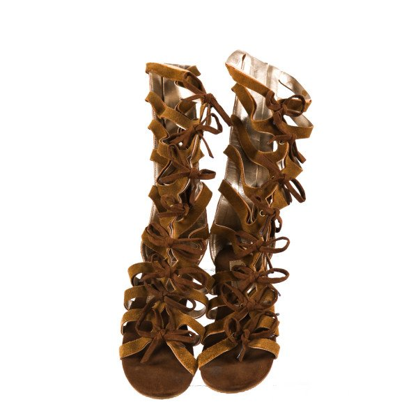JOY FOLIE BROWN GLADIATOR SANDALS *SIZE 10, VGU - MINOR WEAR