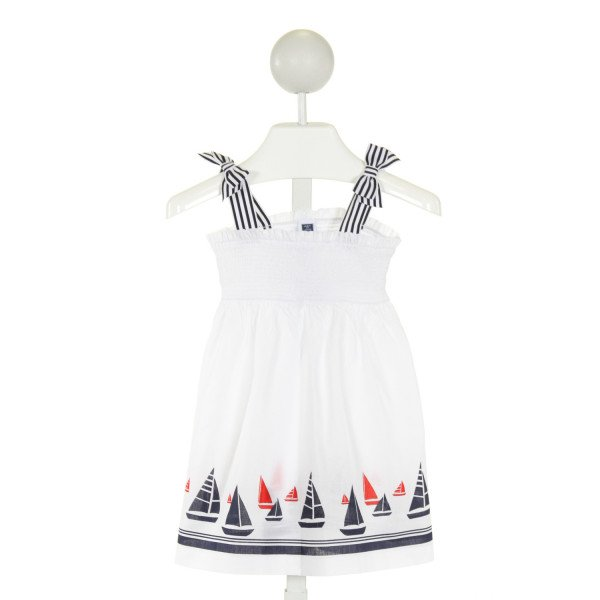 JANIE AND JACK  WHITE  PRINT SMOCKED DRESS