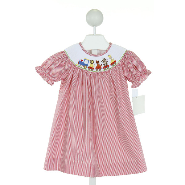 THREE SISTERS  RED  STRIPED SMOCKED DRESS WITH RUFFLE