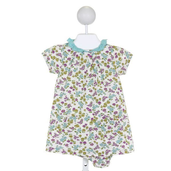 BABY BODEN  IVORY  FLORAL  DRESS WITH EYELET TRIM