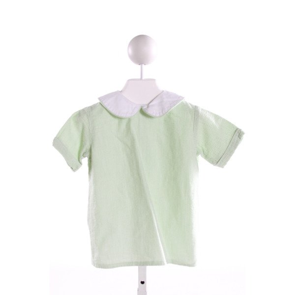 HANNAH KATE  LT GREEN SEERSUCKER STRIPED  CLOTH SS SHIRT